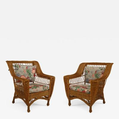 Whip O Will O Furniture Co Pair of American Mission Bar Harbor style Natural Wicker Arm Chairs