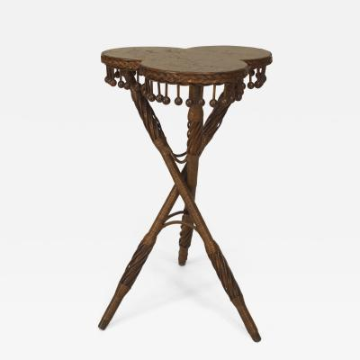 Whitney Reed Chair Co American Victorian Natural Wicker Tripod Table