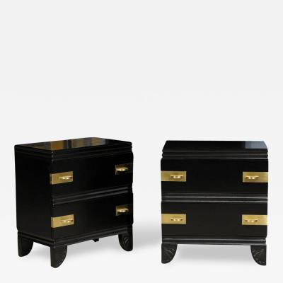 Widdicomb Furniture Co Rare Pair Of Widdicomb End Tables Or Nightstands  Restored In Black Lacquer