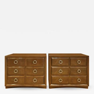 Widdicomb Furniture Co T H Robsjohn Gibbings Pair of Bedside Table Chests in Walnut 1950s signed