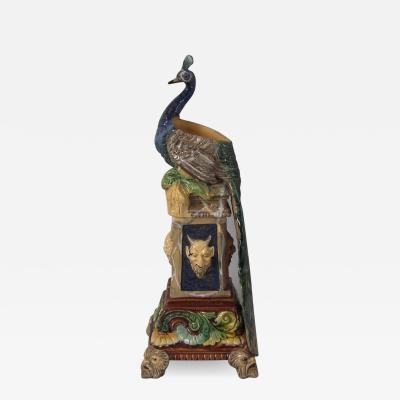 Wilhelm Schiller Son Wilhelm Schiller Sons Majolica Peacock Vase