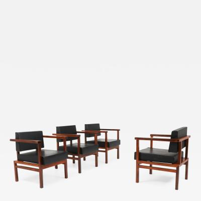 Wim Den Boon Wim Den Boon Executive Chairs in Black Leather and Rosewood 1950s