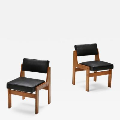 Wim Den Boon Wim den Boon easy chairs in oak and original vinyl 1950s