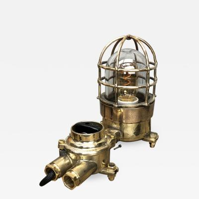 Wiska German Cast Brass Bronze Explosion Proof Table Lamp with Isolator Switch