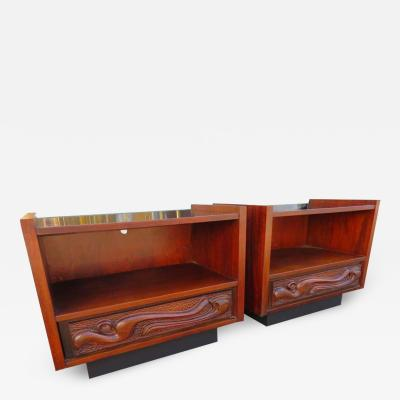 Witco Wonderful Pair of Witco Oceanic Sculptural Nightstand by Pulaski