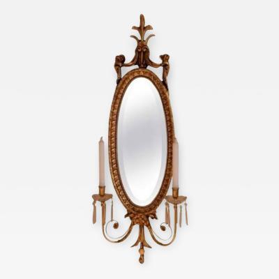Wood Hogan Gilt Frame Mirror with Scounces
