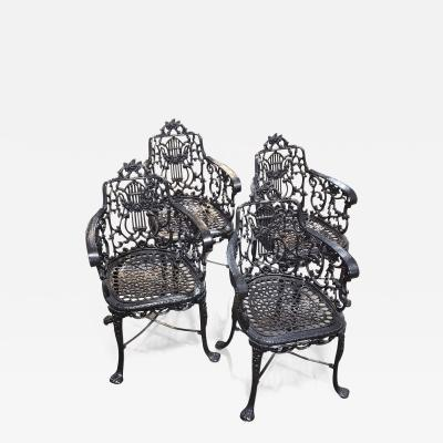 Wood Perot Ornamental Iron Works Rare Set Of Early Cast Iron Arm Chairs by the Robert Wood Foundry