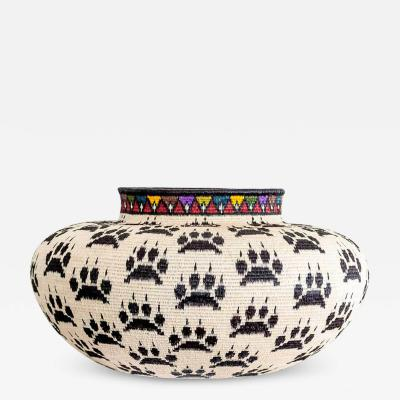 Wounaan Weaver Black Paws on White Wounaan Basket by Lubicia