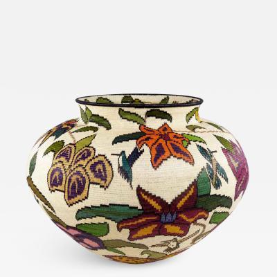 Wounaan Weaver Colorful Floral by Mutsuli Wounaan Basket