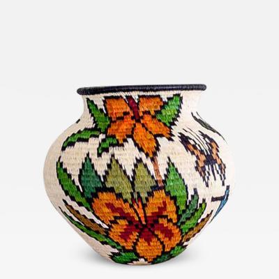 Wounaan Weaver Floral with Blue Hummingbirds Wounaan Basket