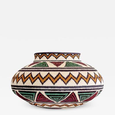 Wounaan Weaver Red Green Geometric Wounaan Basket