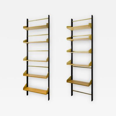 Xavier Feal Pair of Bookcase Feal with Adjustable Shelves in Wood and Aluminium