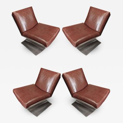 Xavier Feal Xavier Feal rarest set of 4 brushed steel and leather chairs