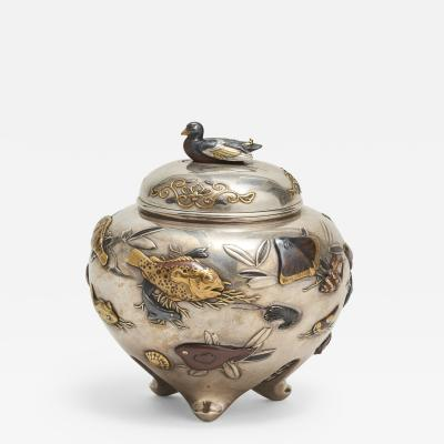 Yoshiaki An antique Japanese Silver Koro c1880