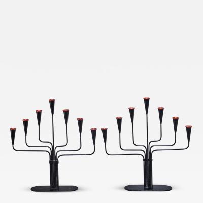 Ystad Metall Pair of Gunnar Ander candelabras for Ystad Sweden 1960s