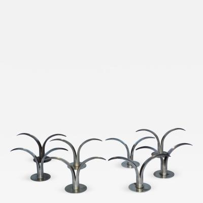 Ystad Metall Set of Eight Swedish Brass Candleholders By Ystad Metall