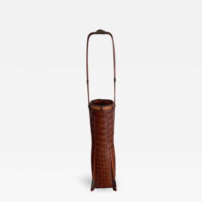 YuQiu An elegant Japanese lacquered Ikebana Bamboo Basket