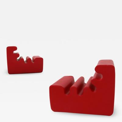 Zanotta Pair of Karelia red armchairs by Liisi Beckmann for Zanotta 1970s