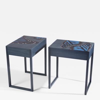 Zelouf and Bell Furniture Makers Blue Butterfly Bedside Cabinets
