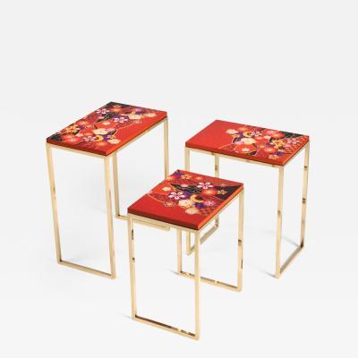 Zelouf and Bell Furniture Makers Kiku Variation Nesting Tables Orange