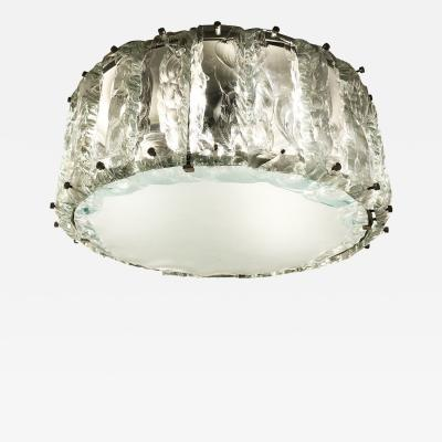 ZeroQuattro Chiseled Glass Flush Mount Chandelier by Zero Quattro