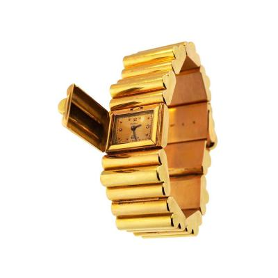 Zodiac Zodiac Yellow Gold Tank Secret Bracelet Wristwatch