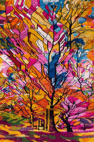 Zollanvari Studio Autumnal Arboretum Stained Glass Collection Super Fine Gabbeh