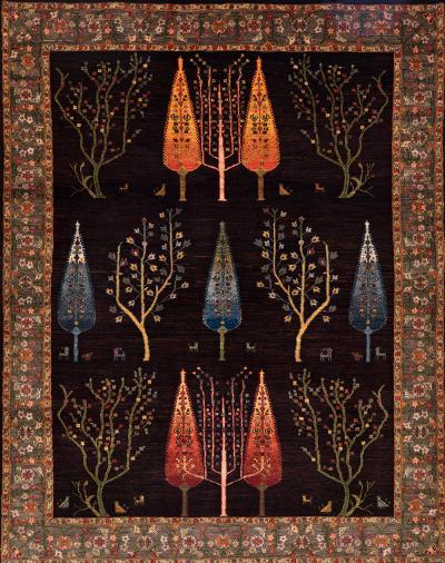 Zollanvari Studio Framed Woodland by Night Into the Woods Transitional Formal Super Fine Gabbeh