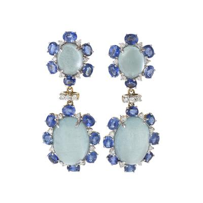 Zwikker Zacher Ltd Estate Aquamarine Sapphire Diamond and Gold Earring