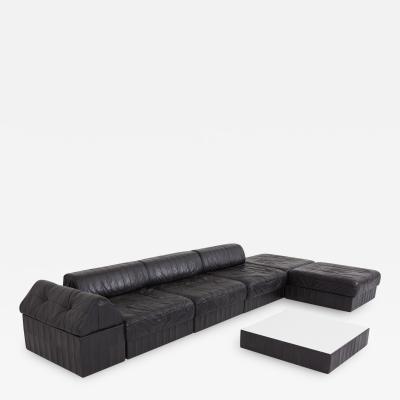 de Sede Black Leather Sectional Modular De Sede Switzerland Patchwork Sofa DS 88