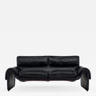 de Sede Black Leather Vintage de Sede Sofa