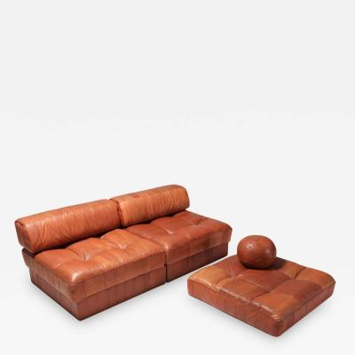 de Sede Cognac Leather Patchwork DS 88 De Sede Sectional Sofa 1970s