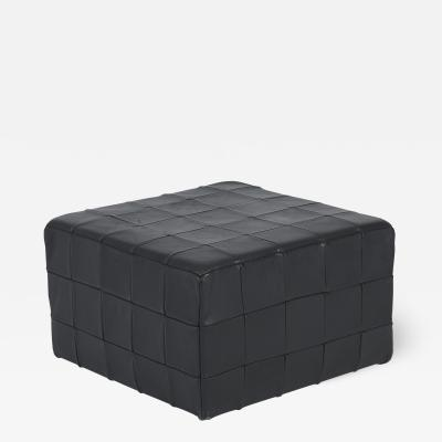 de Sede De Sede Black Leather Patchwork Cube Ottoman