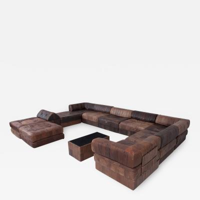 de Sede De Sede DS88 Modular Brown Leather Patchwork Sofa Extra Large 1970s