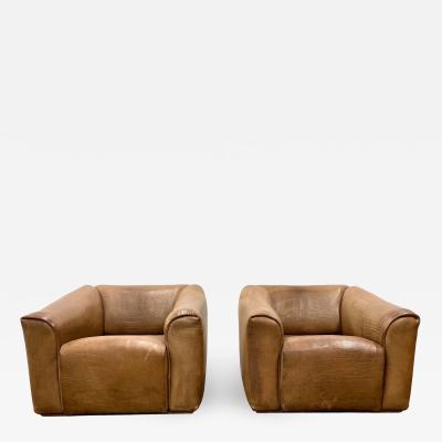 de Sede De Sede Ds 45 Leather Lounge Chairs a Pair