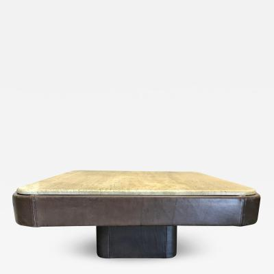 de Sede De Sede Leather and Travertine Coffee Table