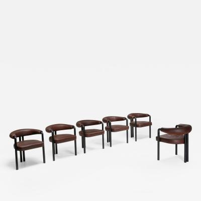 de Sede De Sede dining chairs by Nienkamper in brown leather and black tubular steel