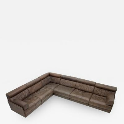 de Sede Large Modular Leather Sofa in Dark Brown Leather by De Sede Switzerland 1970s