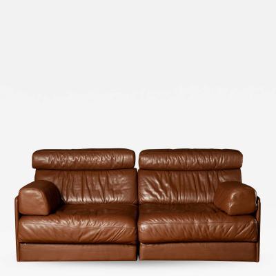 de Sede Midcentury Brown De Sede DS 76 Sectional Two Seat Sofa Bed