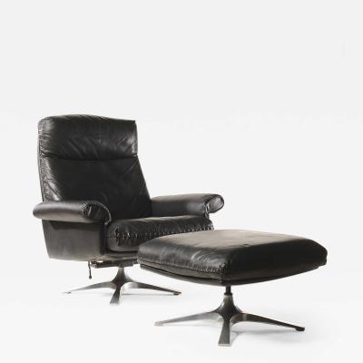de Sede Midcentury De Sede DS 31 High Back Swivel Lounge Armchair with Ottoman 1970