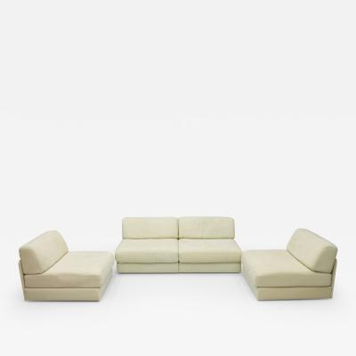 de Sede Set of Four Cream White Leather Modular Sofa Elements DS 76 De Sede Switzerland