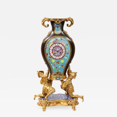 douard Li vre French Japonisme Ormolu Patinated Bronze and Cloisonne Enamel Mantel Clock