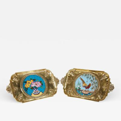 douard Li vre Rare Pair of French Japonisme Bronze Cloisonne Enamel Trays by Edouard Li vre
