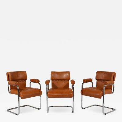 i4 Mariani Set of 6 Original i4 Mariani Italian Leather Dining Chairs