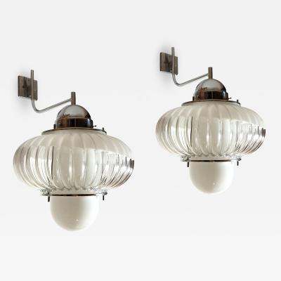 iGuzzini Harvey Guzzini Guzzini Pair of large Mid Century Modern sconces lanterns chrome glass Guzzini style
