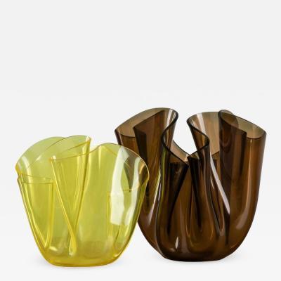 iGuzzini Pair of Cartoccio Plexiglass Vases by Guzzini