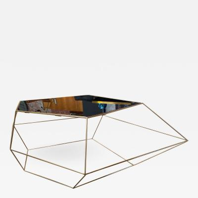 ma 39 Italian Rhomboidal sculptural brass and glass coffee table