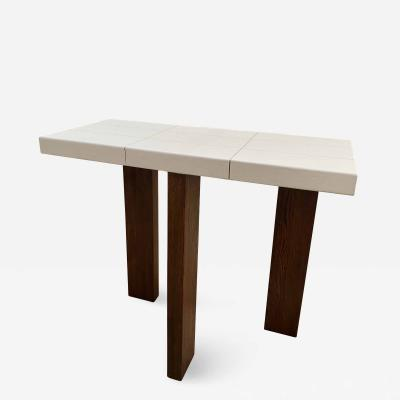 ma 39 Ma39 Solid Walnut Side Tables Console with parchment base 21st Century