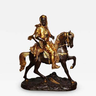 mile Coriolan Hippolyte Guillemin A Monumental Orientalist Bronze Sculpture Cavalier Arabe After Emile Guillemin