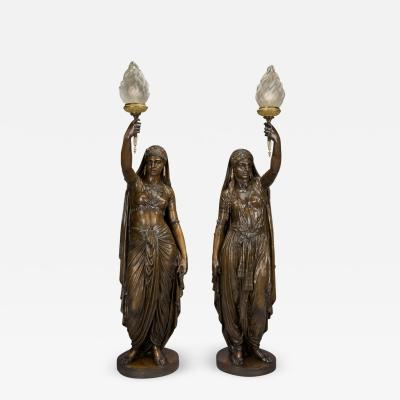 mile Coriolan Hippolyte Guillemin A Pair of Patinated Bronze Figural Torcheres